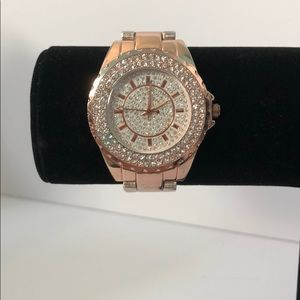 Rose gold Rhinestone face watch